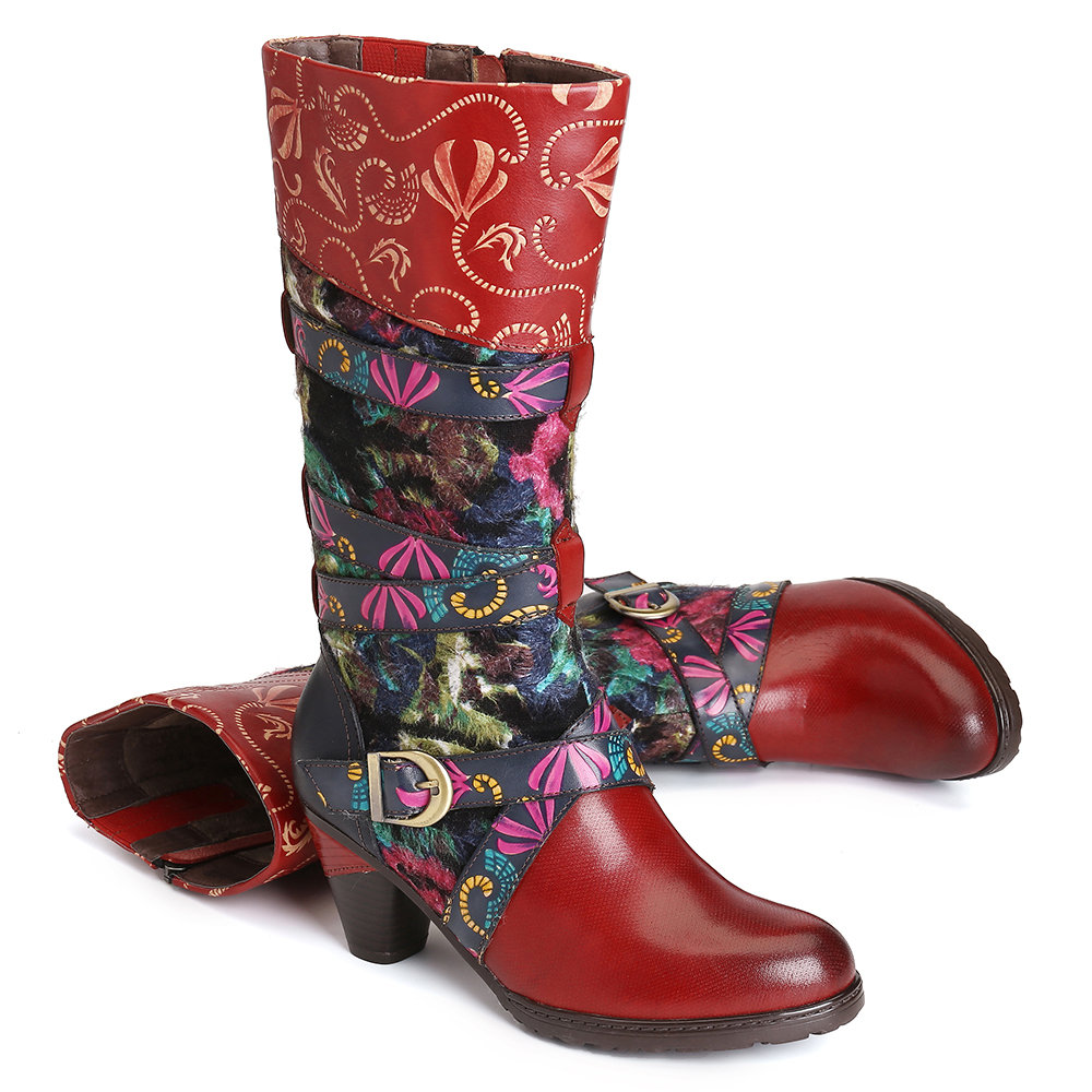 SOCOFY Retro Watercolor Embossed Decorated Buckle Strap Elegant Soft Mid Calf High Heel Boots