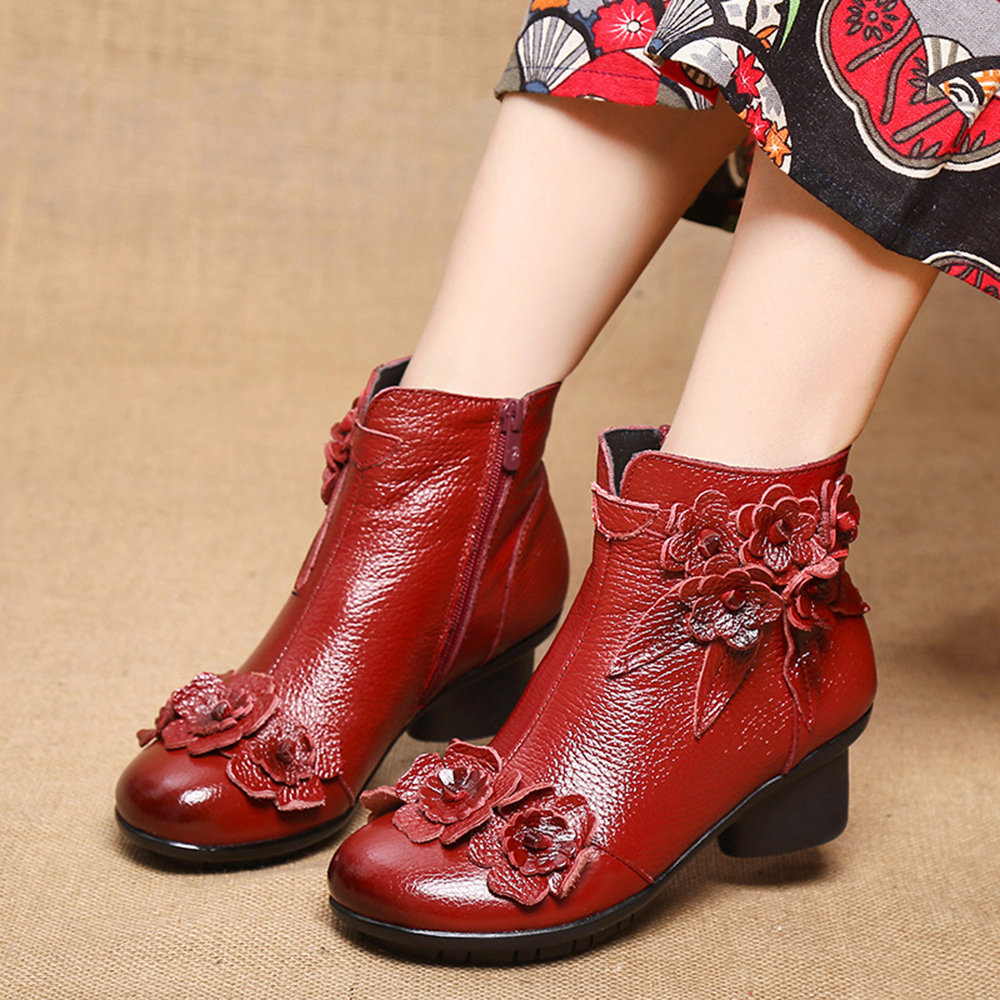 SOCOFY Retro Genuine Leather Stitching Solid Color Handmade Flowers Soft Low Heel Short Boots