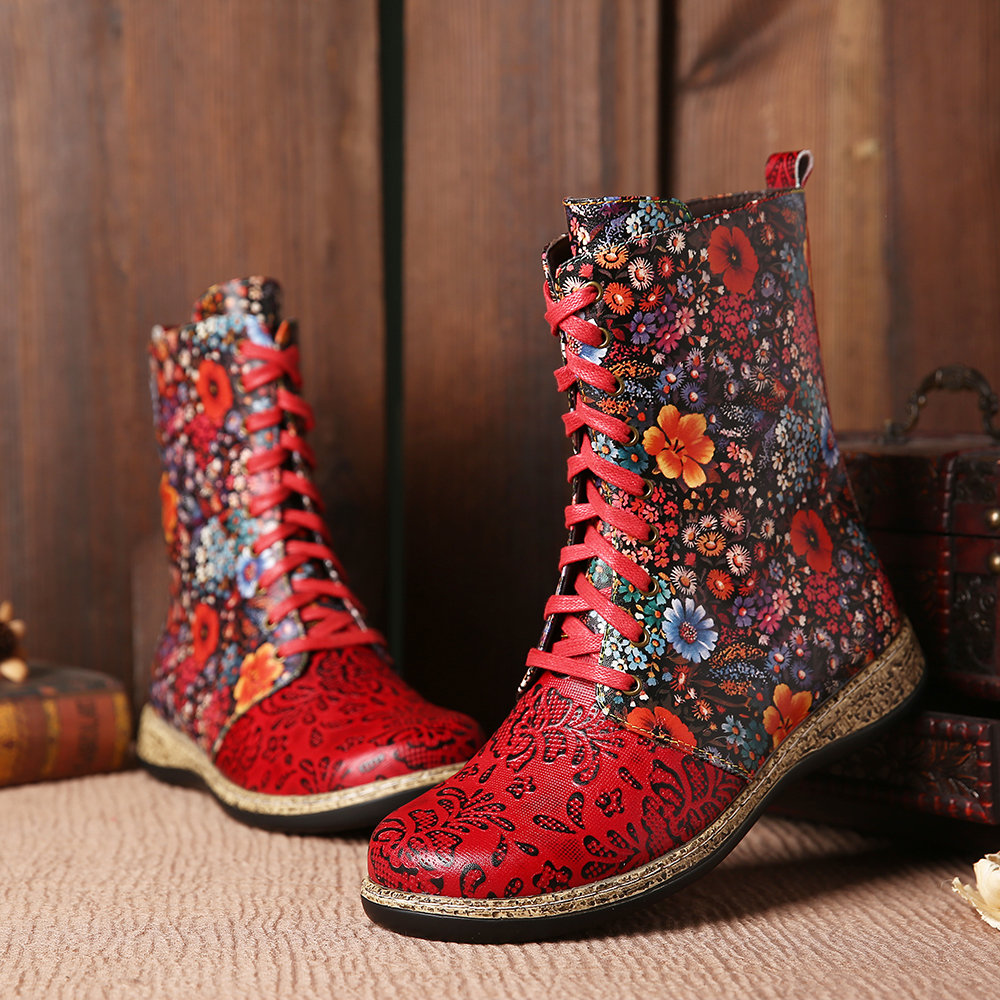 SOCOFY Retro Genuine Leather Painting Flowers In Clusters Delicate Emboss Zipper Ankle Boots