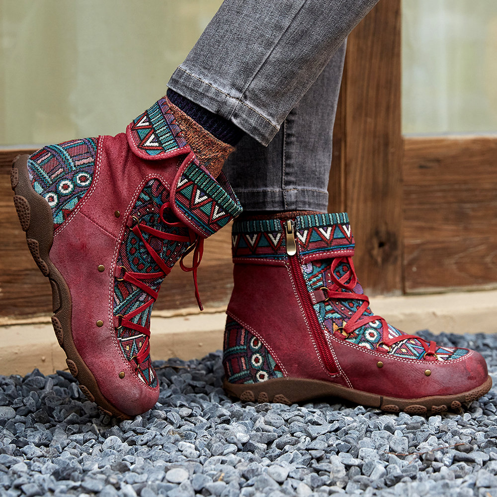 SOCOFY Bohemian Sooo Comfy Genuine Leather Splicing Jacquard Lace Up Zipper Big Head Flat Boots