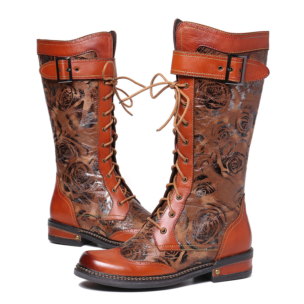 SOCOFY Embossed Rose Pattern Genuine Leather Splicing Metal Buckle Mid Calf Boots