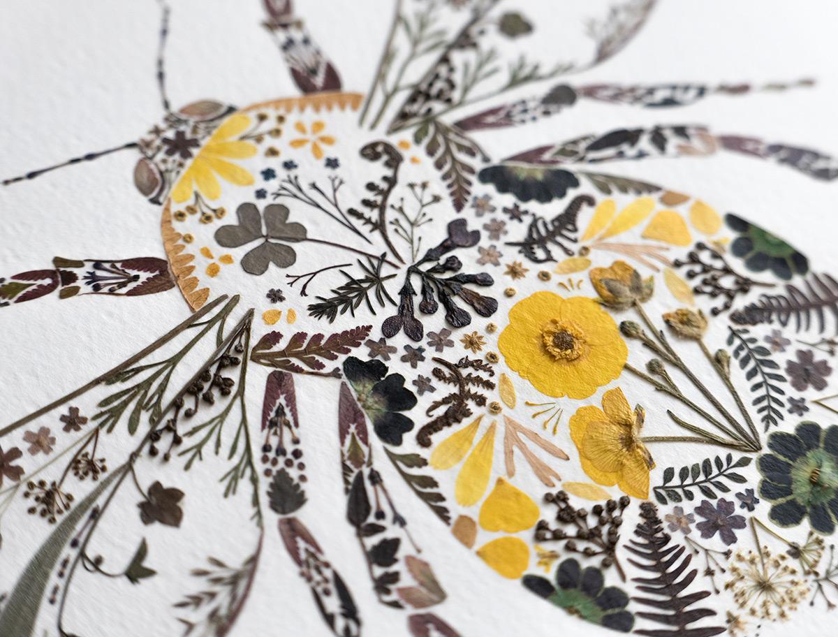 Preslenmiş Çiçeklerle Hayvan Resimleri