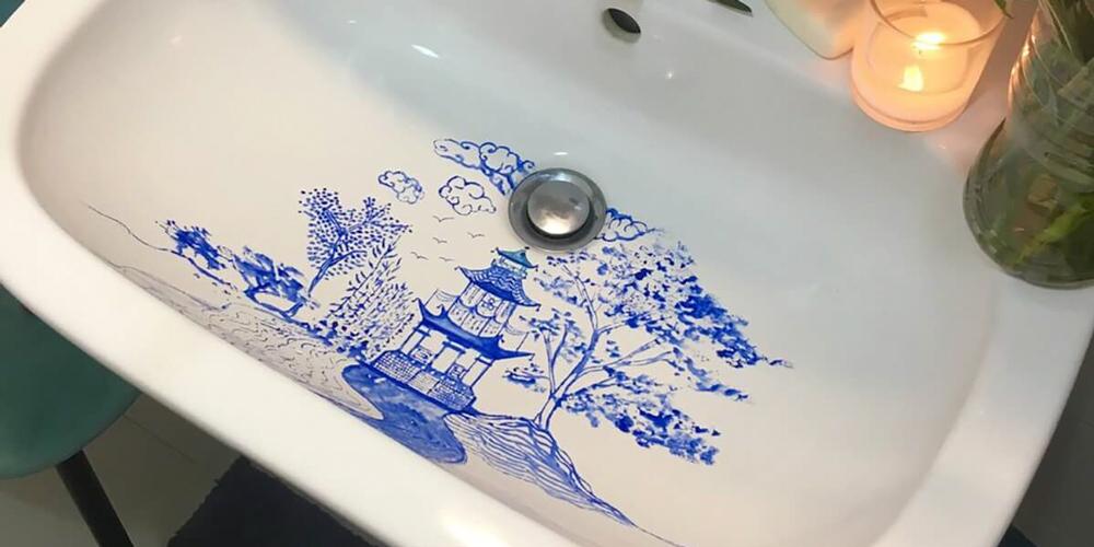 Lavaboya Çizilen Suluboya Resimler